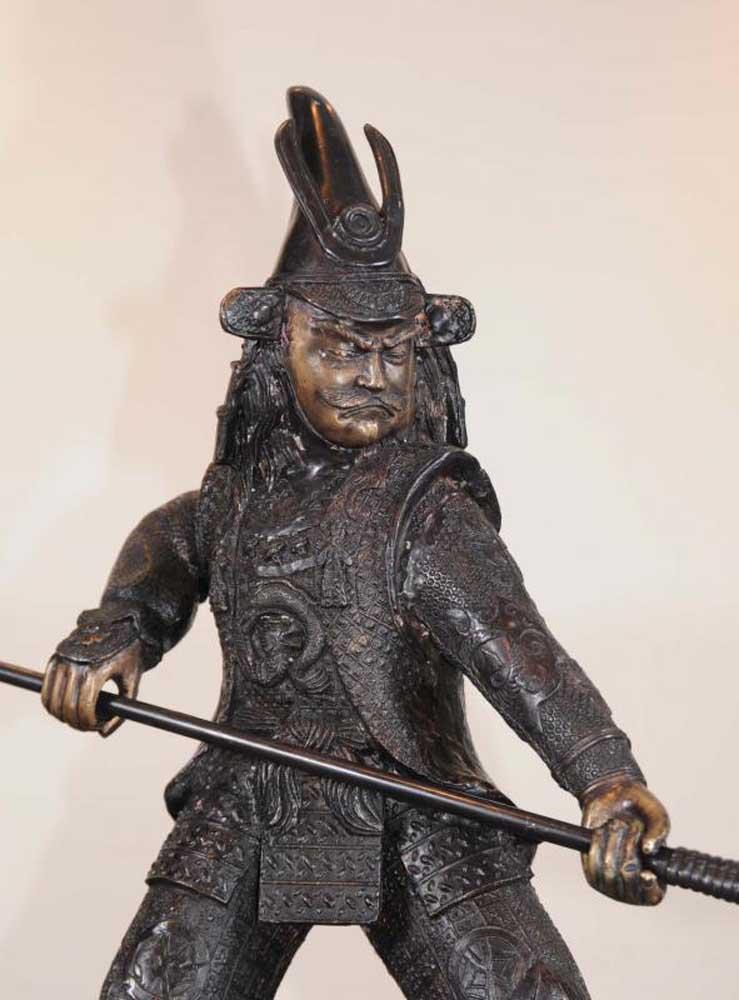 Bronze Japanese Samurai Warrior Statue Casting
