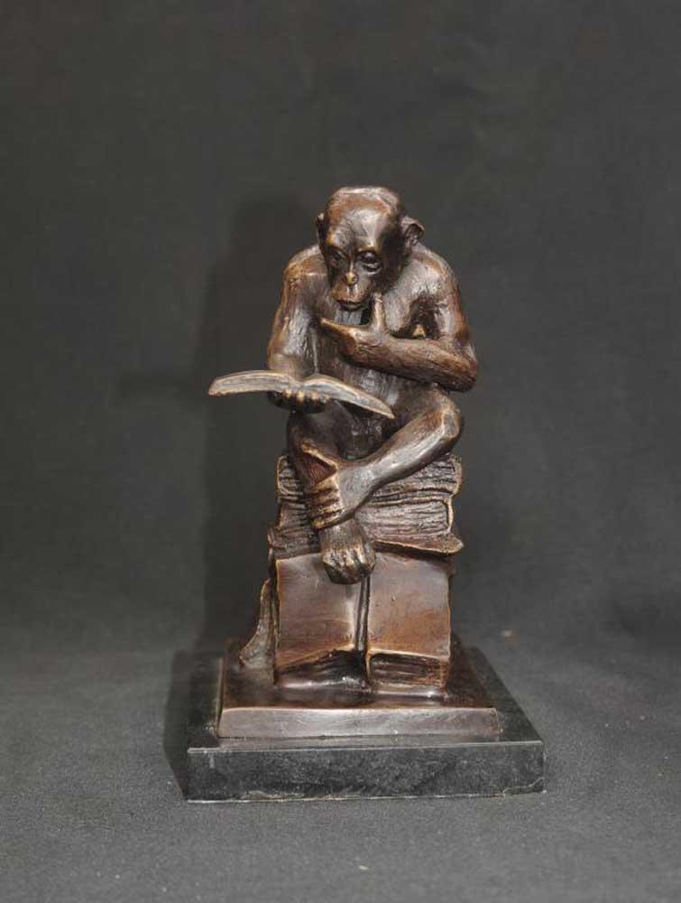English Study Room: Bronze Monkey Statue Reading Ape Primate