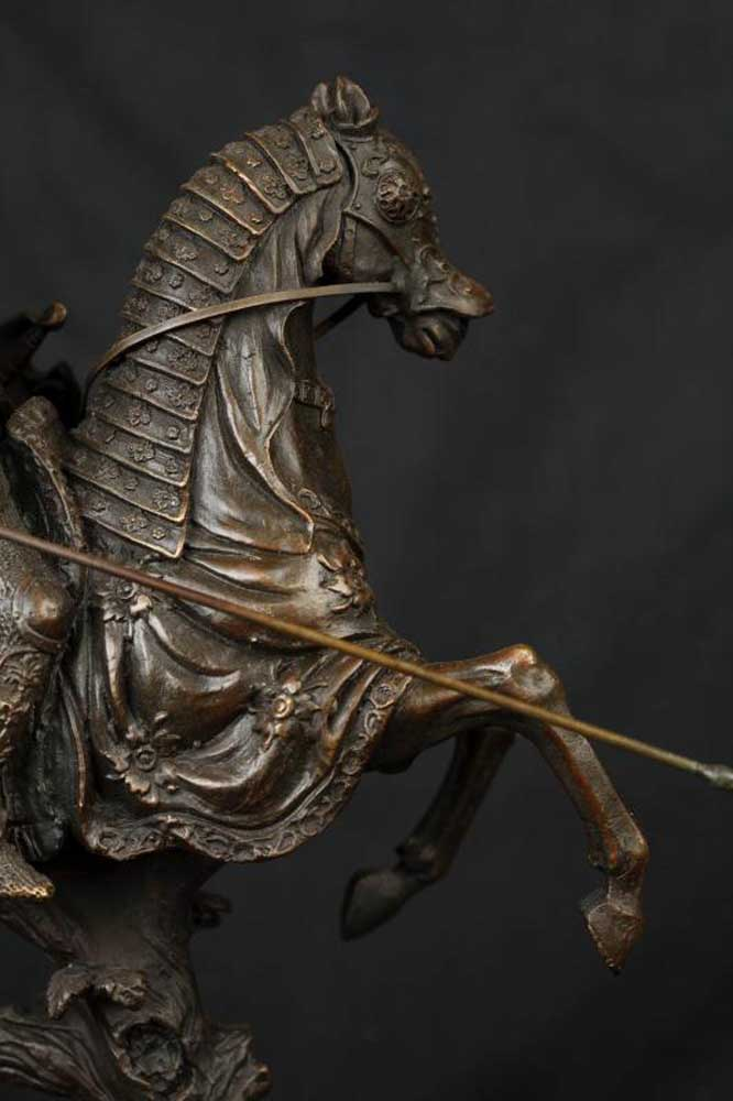 Bronze Statue Knight Horseback Medieval Soldier Sculpture