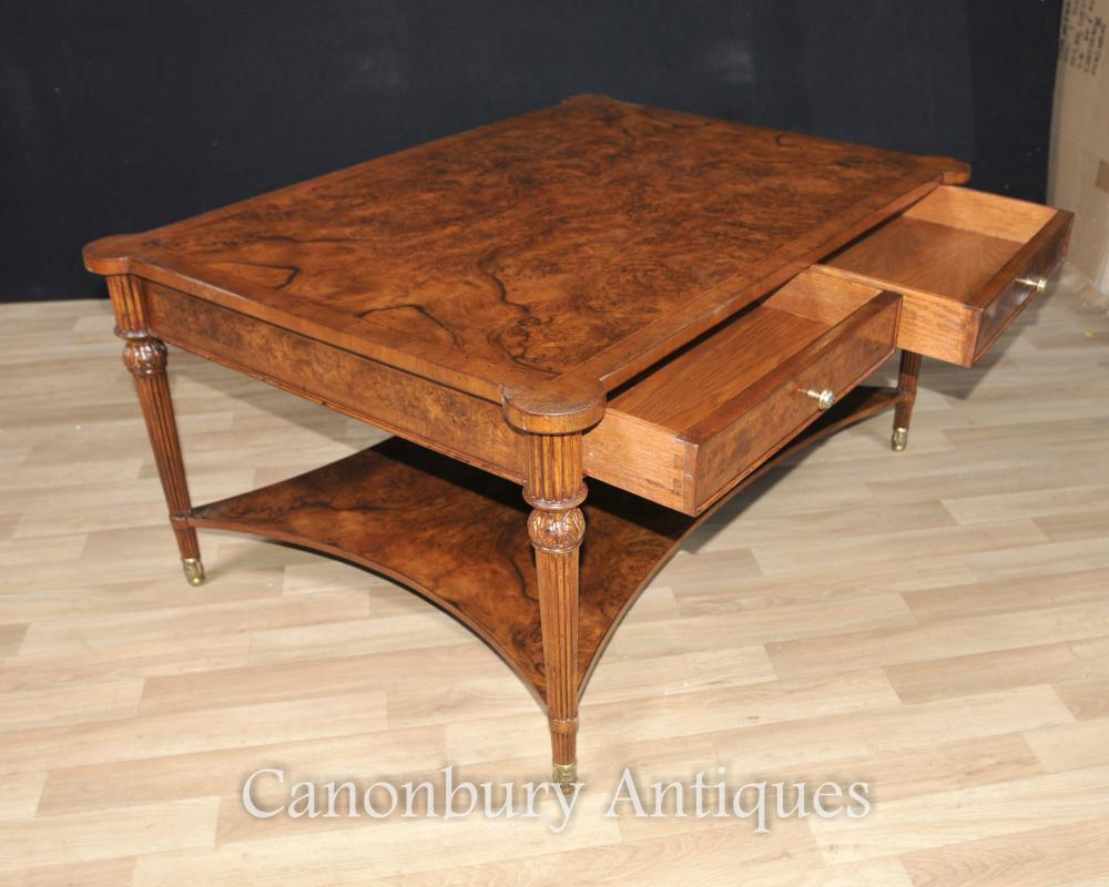 Burr walnut regency coffee table cocktail tables furniture for Coffee tables ebay australia
