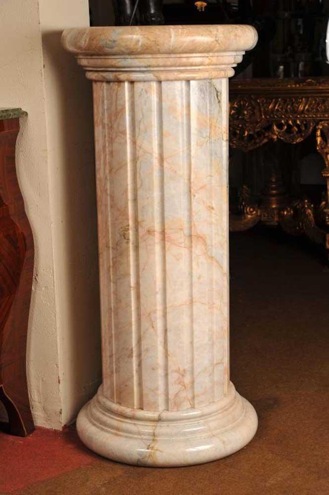 Carrera marble pedestal plinth table column for Table column
