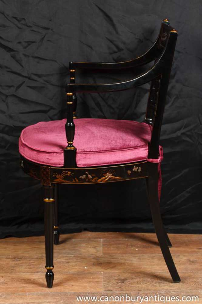 Chinese Black Lacquer Arm Chair Painted Chairs Desk Seat