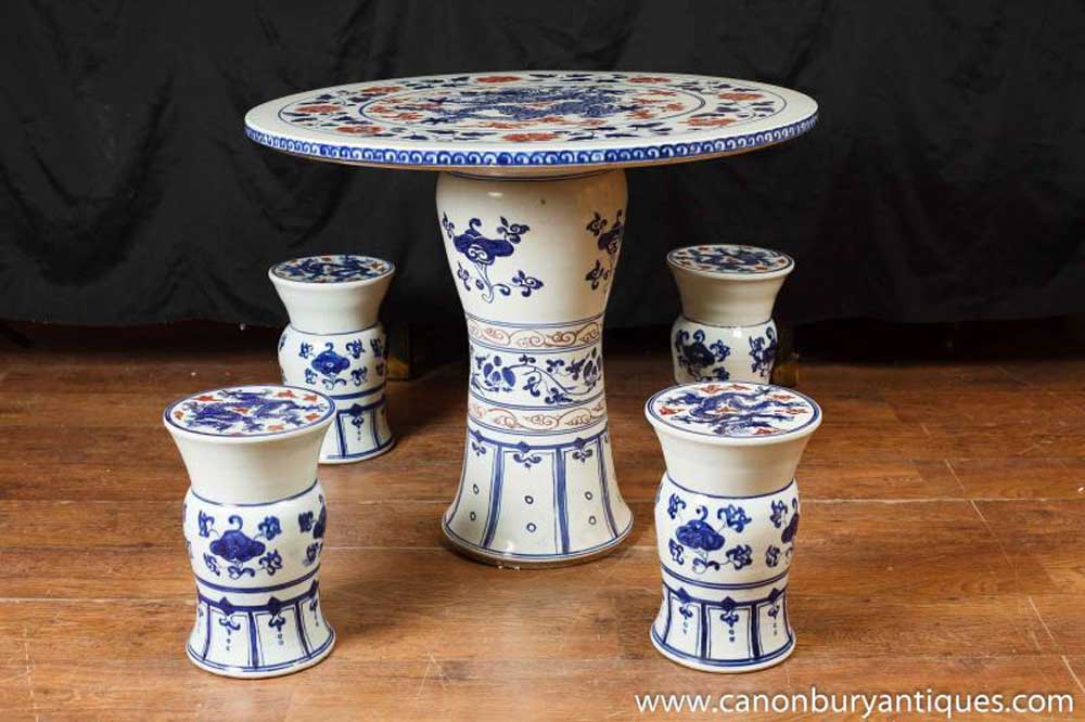 Awesome Chinese Nanking Porcelain Table Chair Garden Set Seat Stool Pottery Chairs