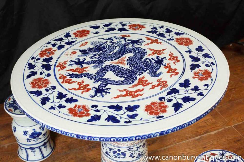 Chinese Nanking Porcelain Table Chair Garden Set Seat