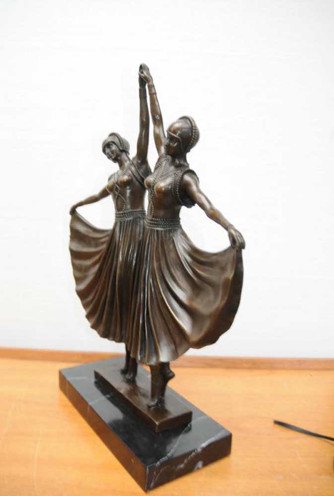 chiparus bronze twin deco dancer statue figurine. Black Bedroom Furniture Sets. Home Design Ideas