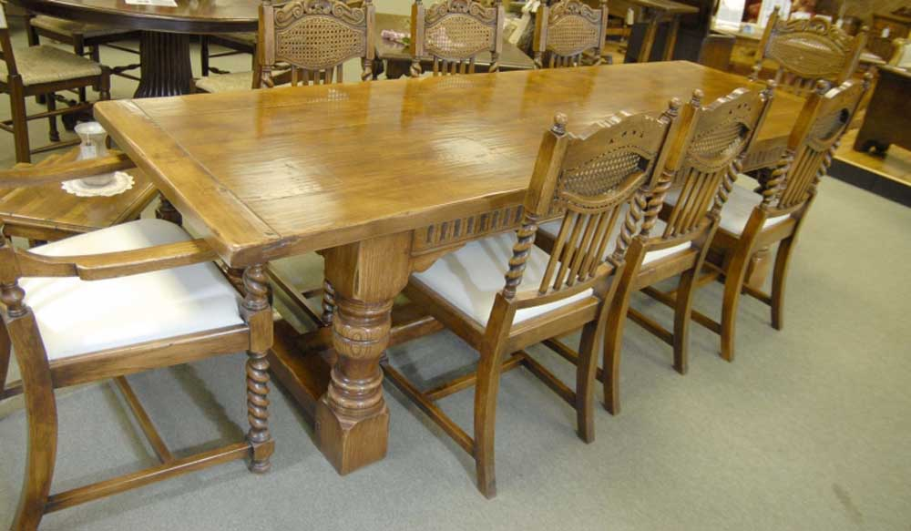 Oak Kitchen Table Abbey Farmhouse Refectory Table Rustic Furniture Ebay