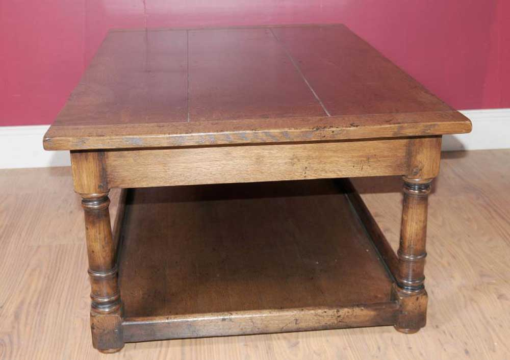 Country oak oblong coffee table farmhouse for Oval farmhouse coffee table