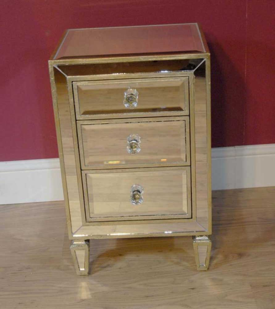 Deco Mirrored Bedside Table Chest Night Stand