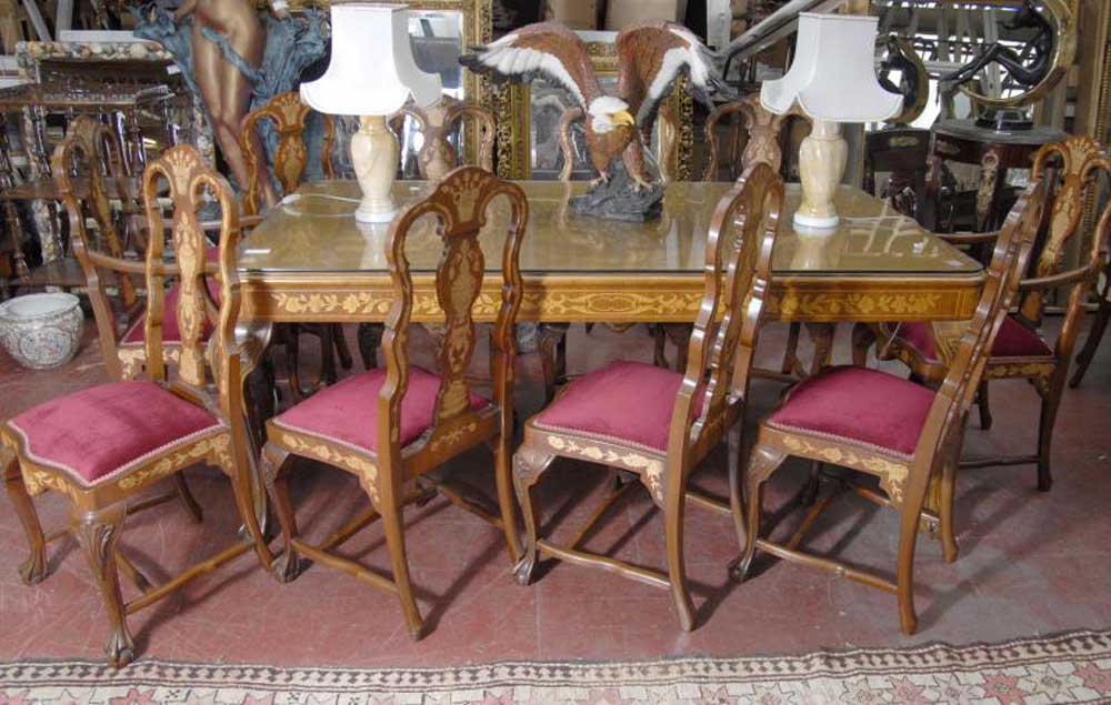 Dutch Marquetry Table Amp Chair Dining Set