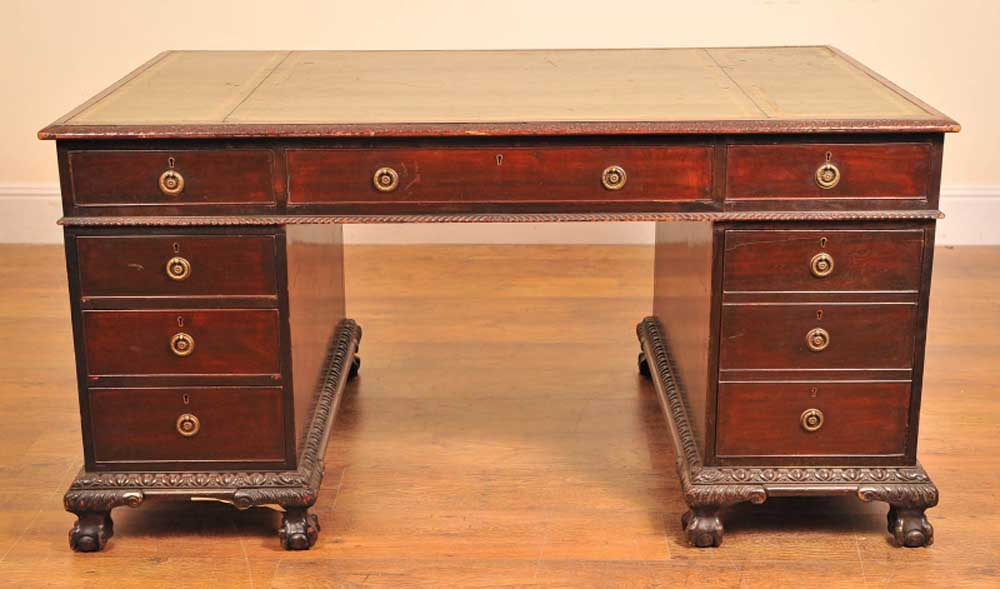 Additional Images - English Antique Victorian Pedestal Desk Desks Writing Table EBay