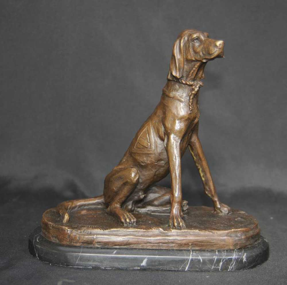 English Bronze Pointer Dog Statue Casting