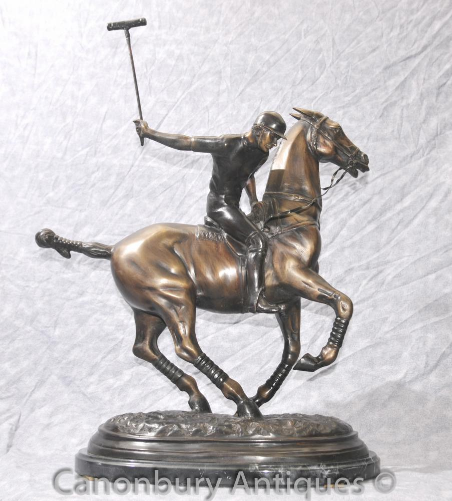 English Bronze Polo Player And Horse Casting Statue