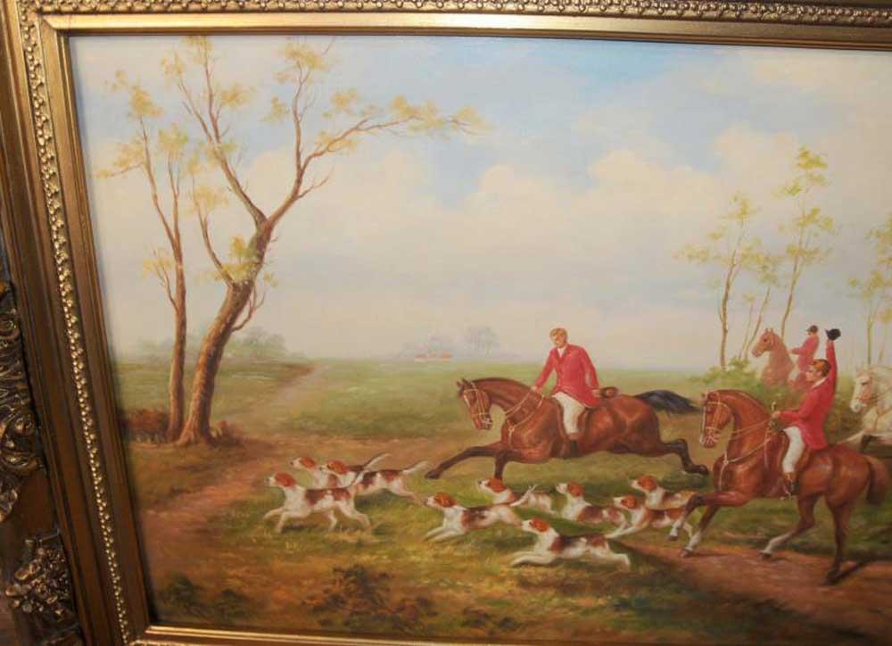 English Fox Hunt Oil Painting Scene Horse Jocked Victorian Art