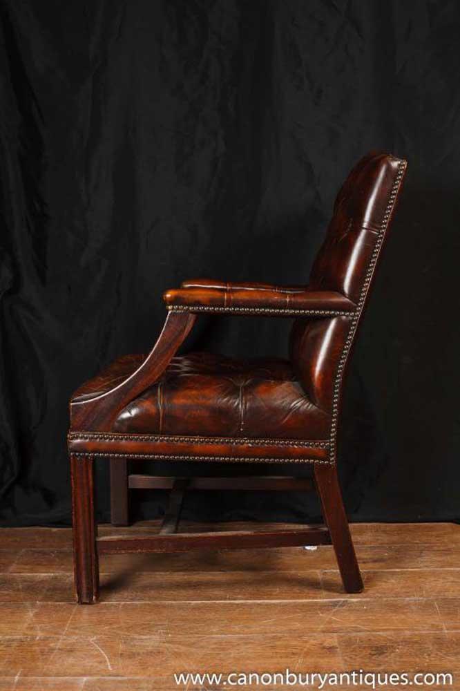 English gainsborough leather arm chair armchair office