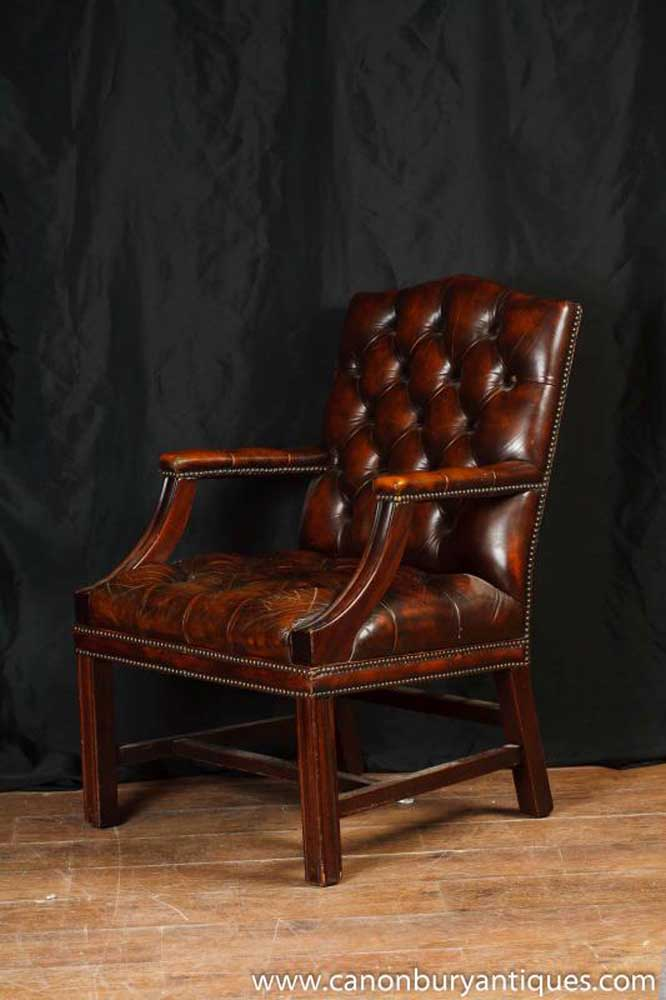 English Gainsborough Leather Arm Chair Armchair Office