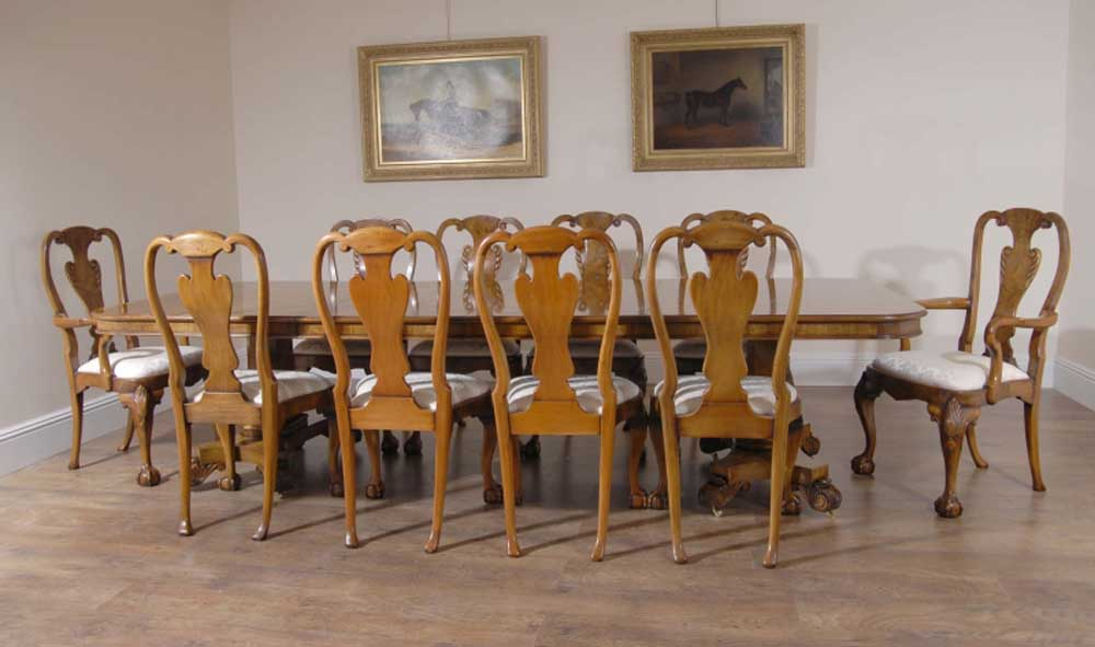 Georgian walnut dining table 10 queen anne chairs dining set furniture ebay - Queen anne dining room furniture ...