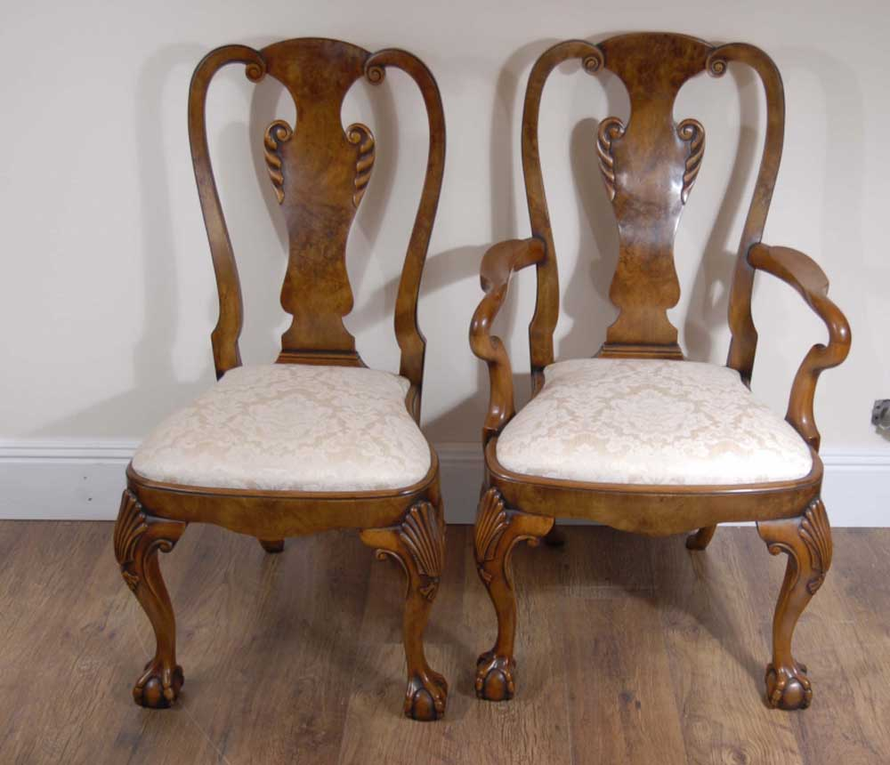 English Georgian Walnut Dining Table & 10 Queen Anne Chairs