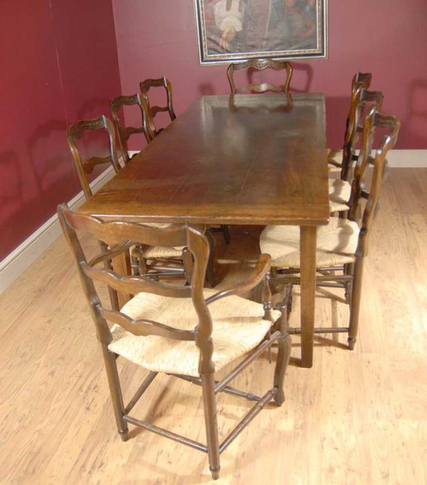 Oak Dining Set Ladderback Chairs & Refectory Table Suite