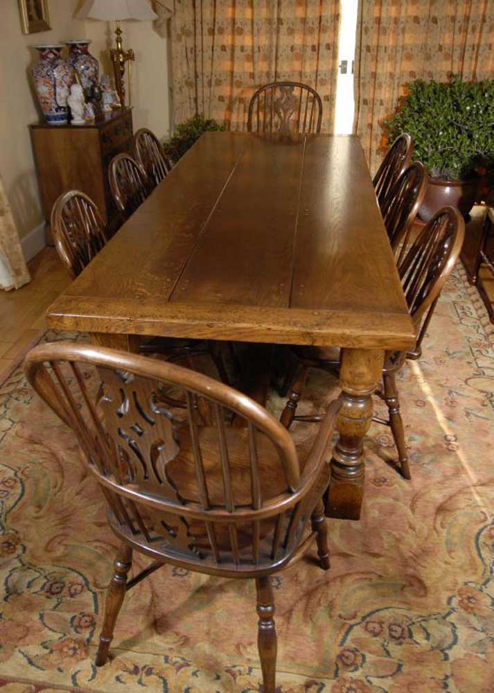 English Oak Refectory Table Amp 8 Windsor Chair Dining Set