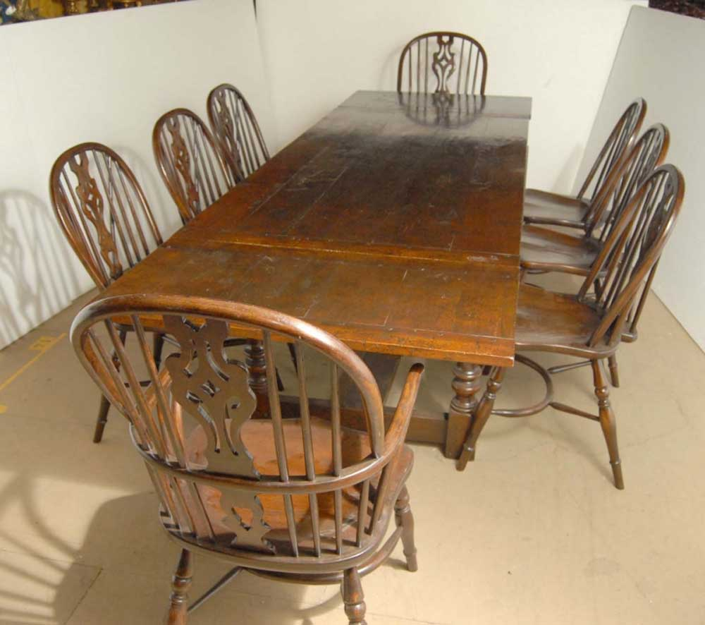 Antique English Oak Pub Table And 4 Chairs Dining Set For: English Oak Windsor Chair & Rustic Refectory Table Set