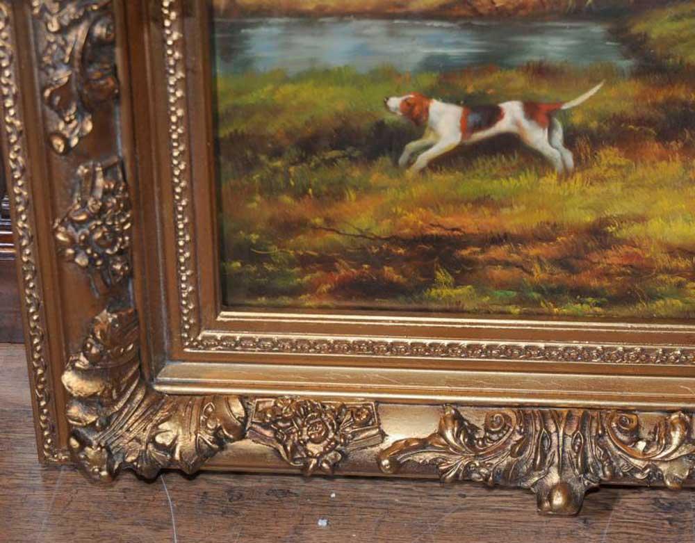 English Oil Painting Fox Hunt Hunting Scene Landscape Art