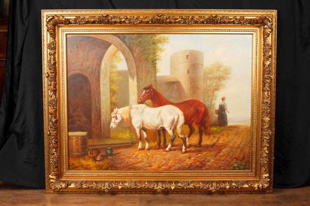 English Oil Painting Horses Horse Portrait Gilt Frame Art Signed G Roy