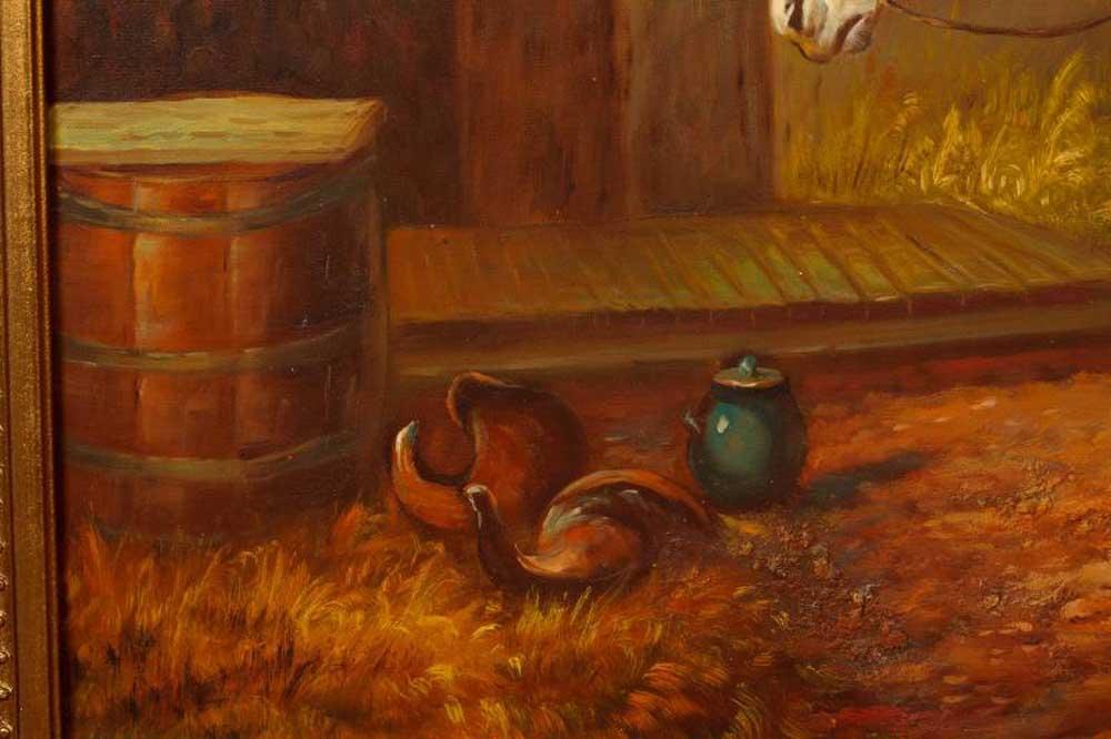 English Oil Painting Horses Horse Portrait Gilt Frame Art