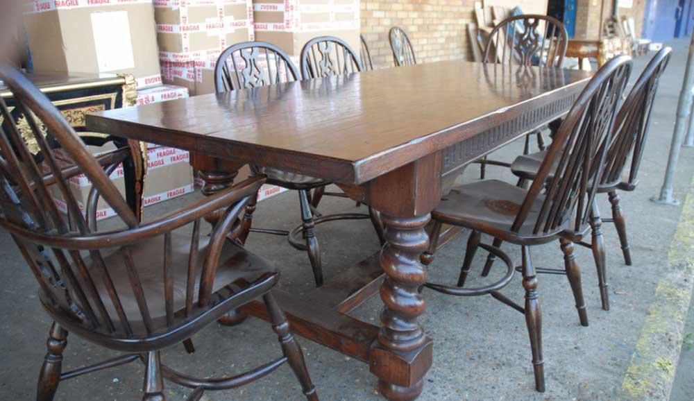 Windsor Chair & Barley Twist Table Set Farm Refectory   eBay