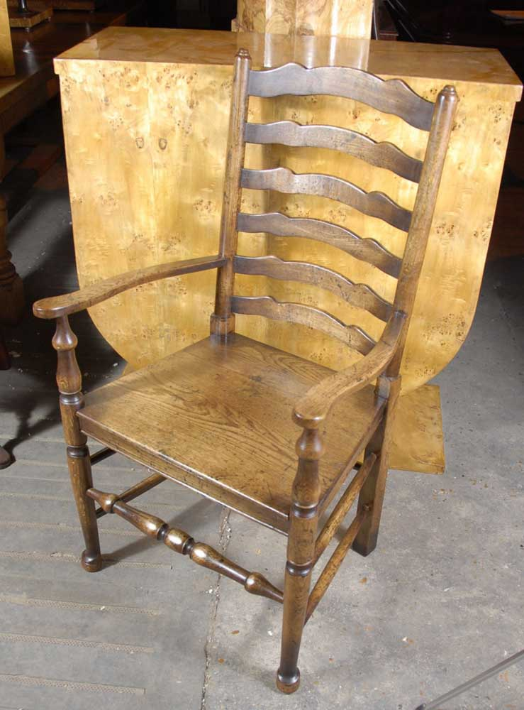 English Rustic Oak Ladderback Chairs