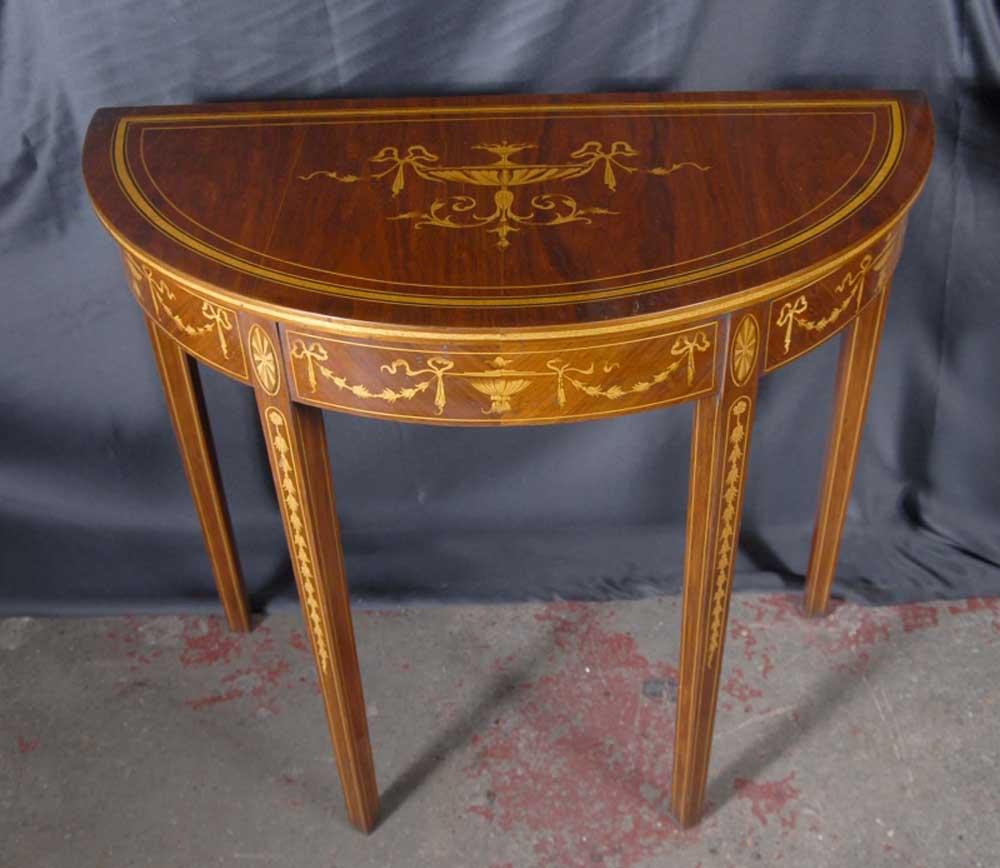 English Sheraton Inlay Console Table Tables Demi Lune