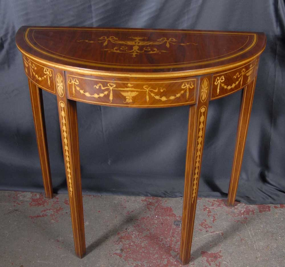 english sheraton inlay console table tables demi lune. Black Bedroom Furniture Sets. Home Design Ideas