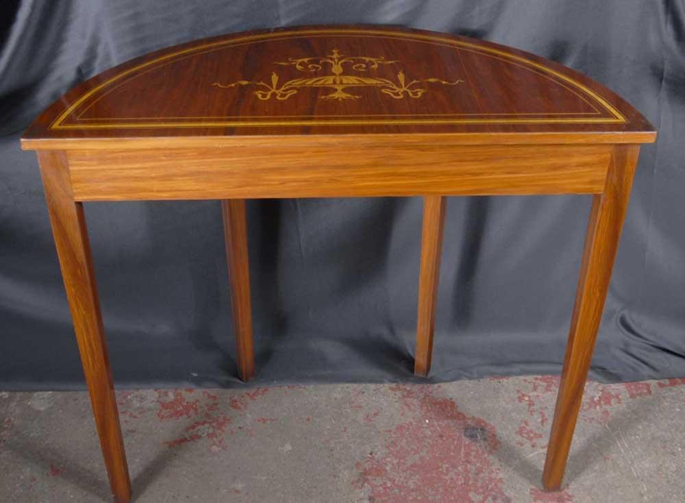 English sheraton inlay console table tables demi lune - Table demi lune murale ...