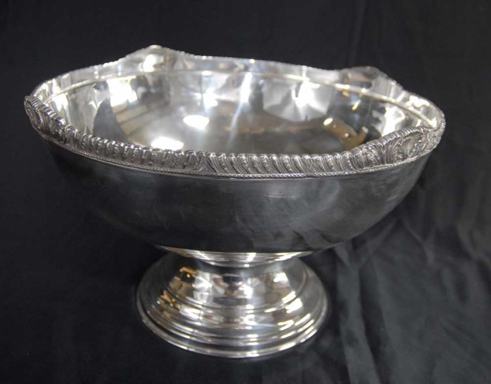 English Silver Plate Monteith Punch Bowl Dish