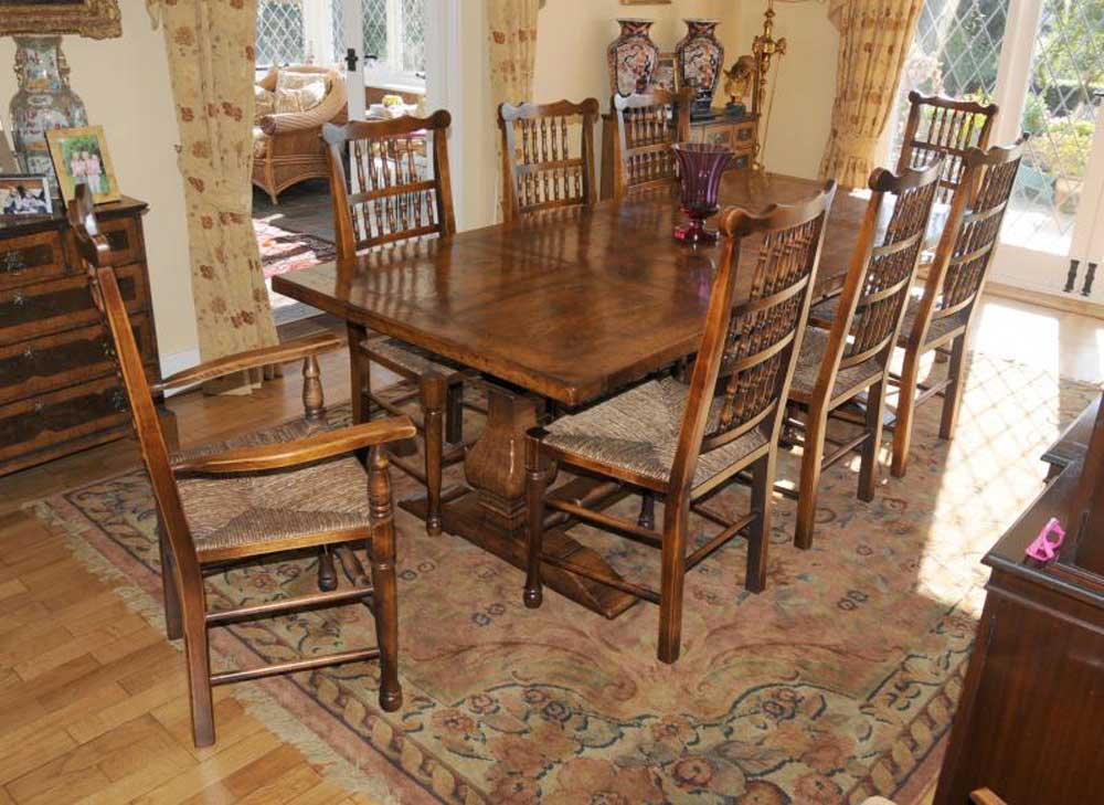 Farmhouse Kitchen Refectory Table Spindleback Chair Set Dining