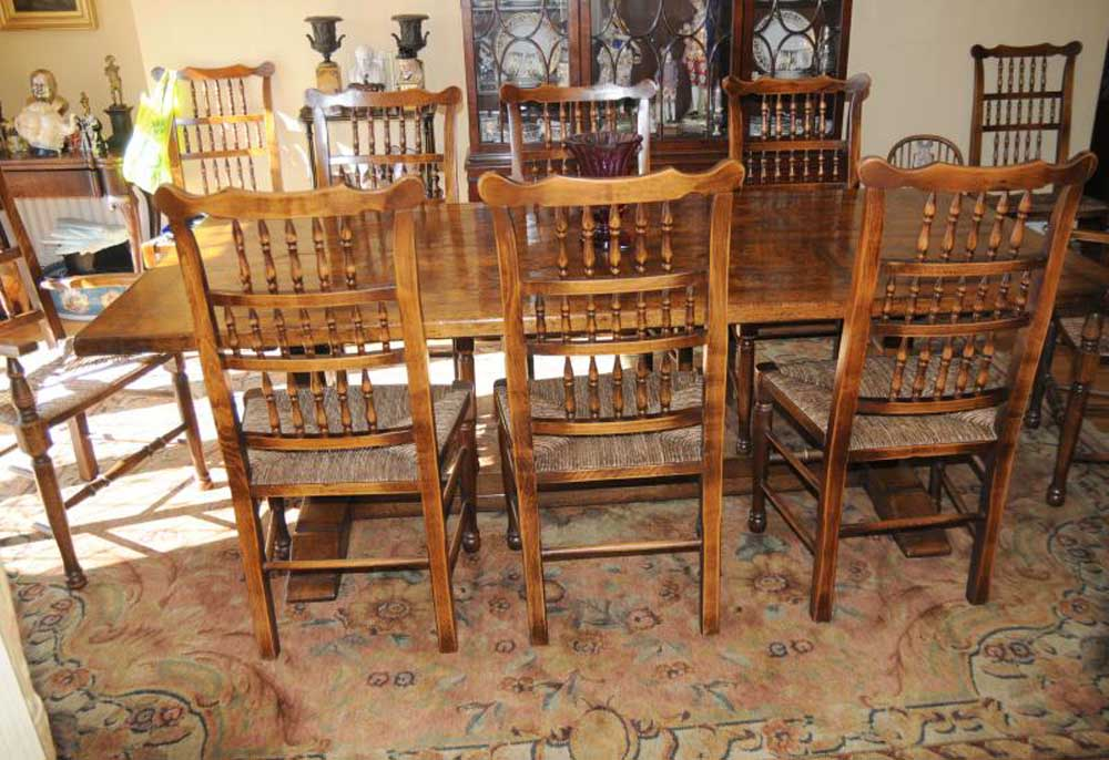 Farmhouse kitchen refectory table spindleback chair set dining for Farmhouse dining set