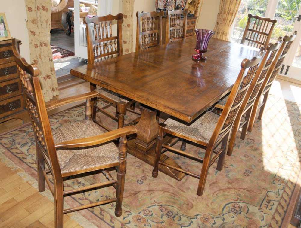 Farmhouse kitchen refectory table spindleback chair set dining for Farm table dining set