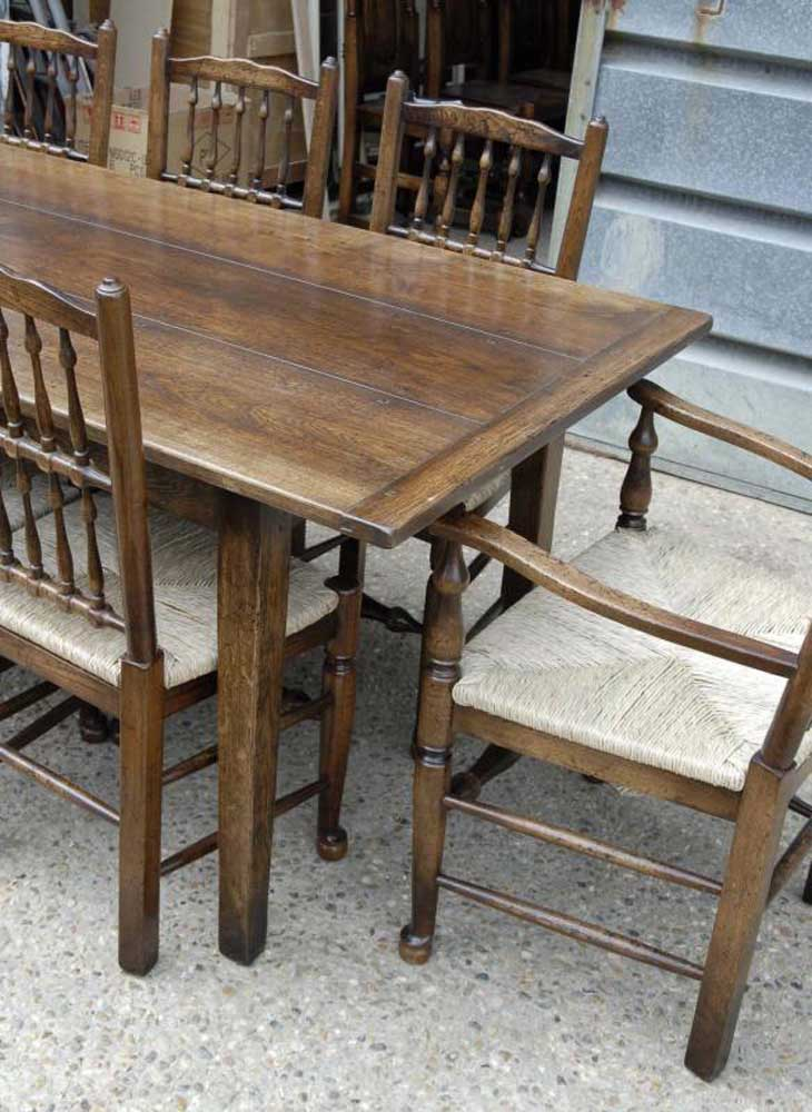 Farmhouse Refectory Table & Set 8 Spindleback Chairs