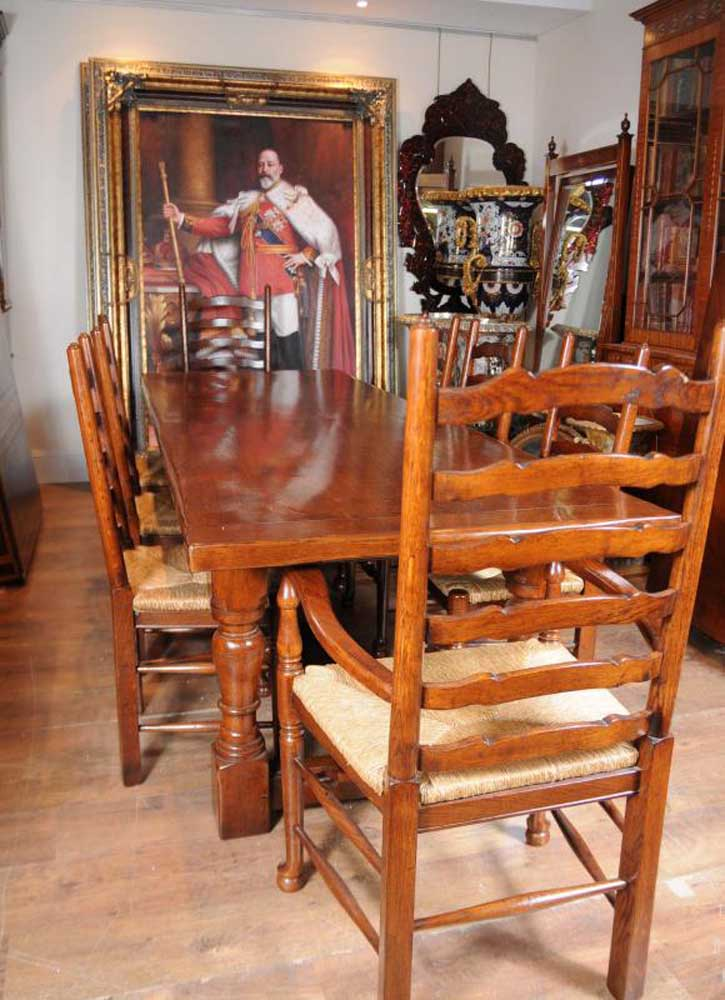 Farmhouse refectory table ladderback chair set dining for Farmhouse dining set