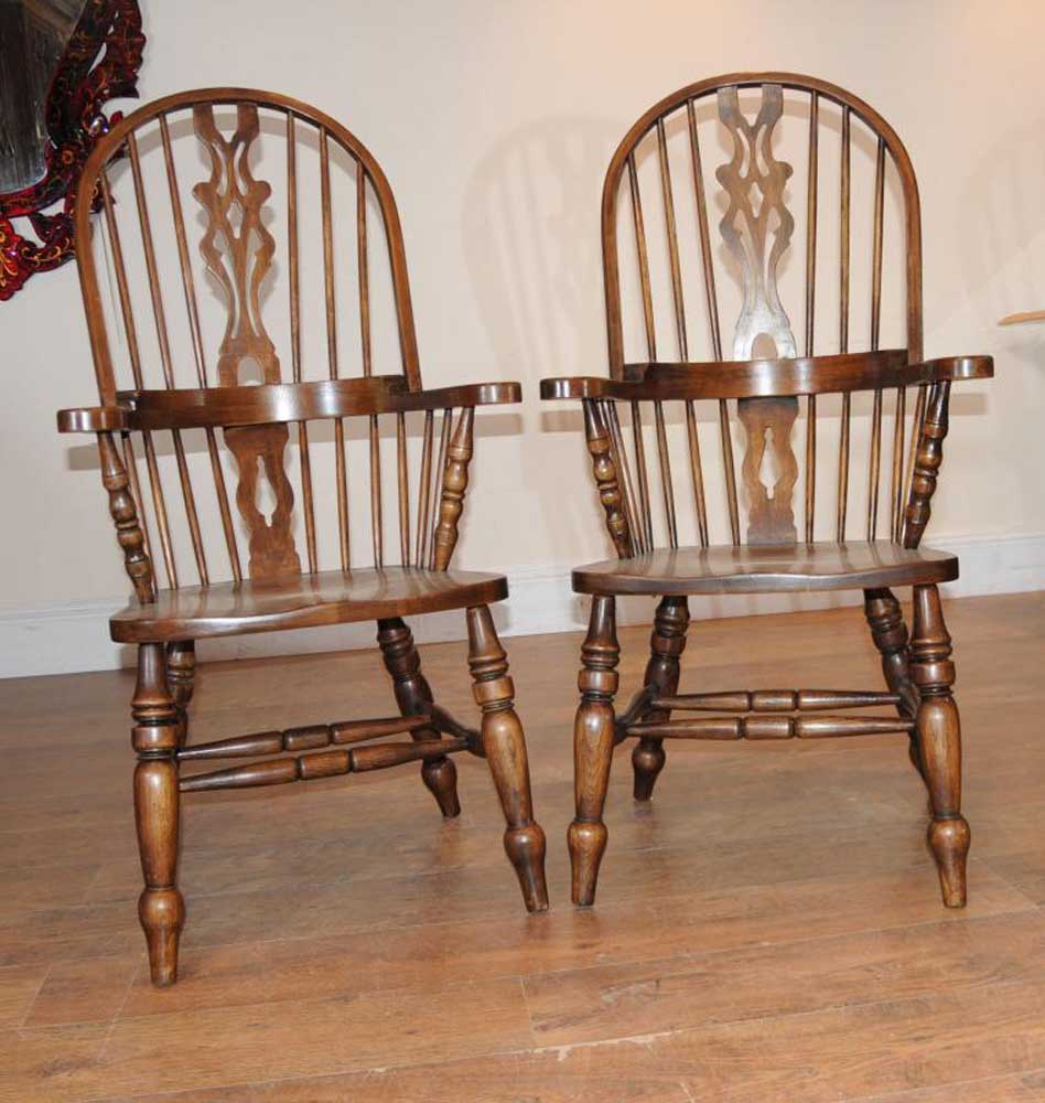 Kitchen Chairs With Arms: Farmhouse Refectory Table Set Windsor Arm Chairs Kitchen