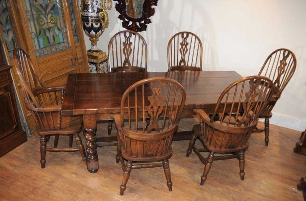 farmhouse refectory table set windsor arm chairs kitchen ebay