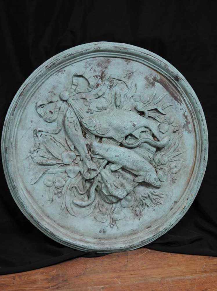 French Antique Bronze Plaque Dish Plate Architectural Fish