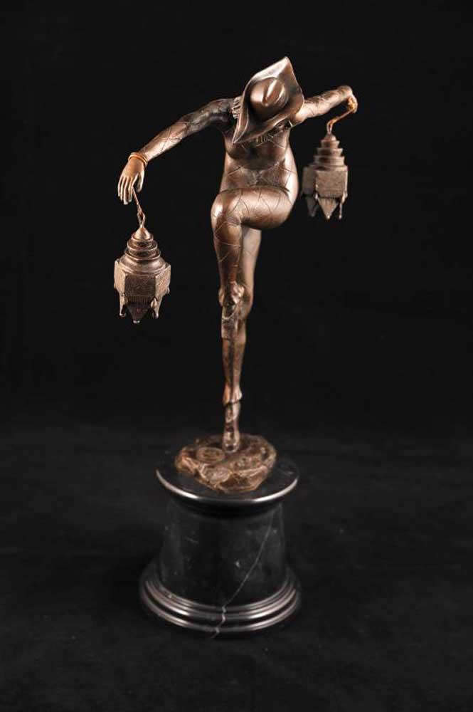 French Art Deco Clown Figurine Signed Bourraine