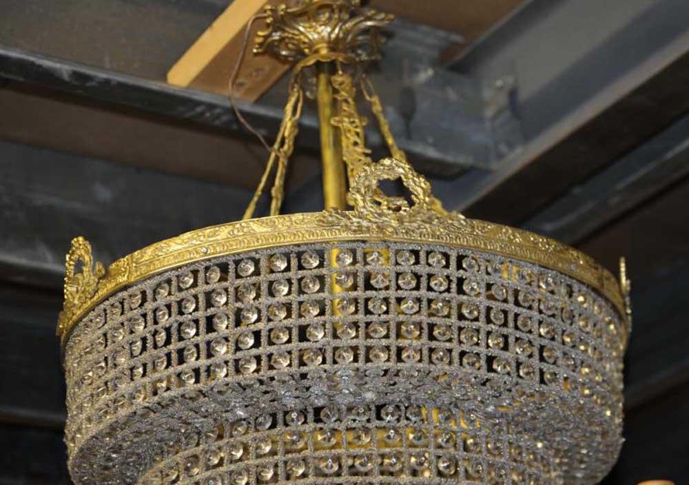 French art nouveau chandelier light ormolu and cut crystal for Chandelier art nouveau
