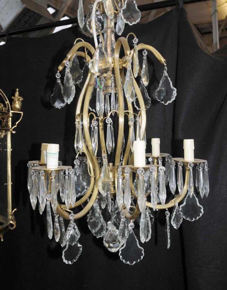 French art nouveau chandelier ormolu light lamp cut for Chandelier art nouveau