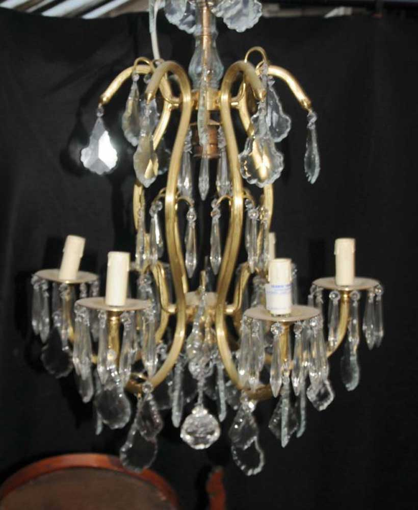 French art nouveau ormolu chandelier light lamps cut glass for Chandelier art nouveau