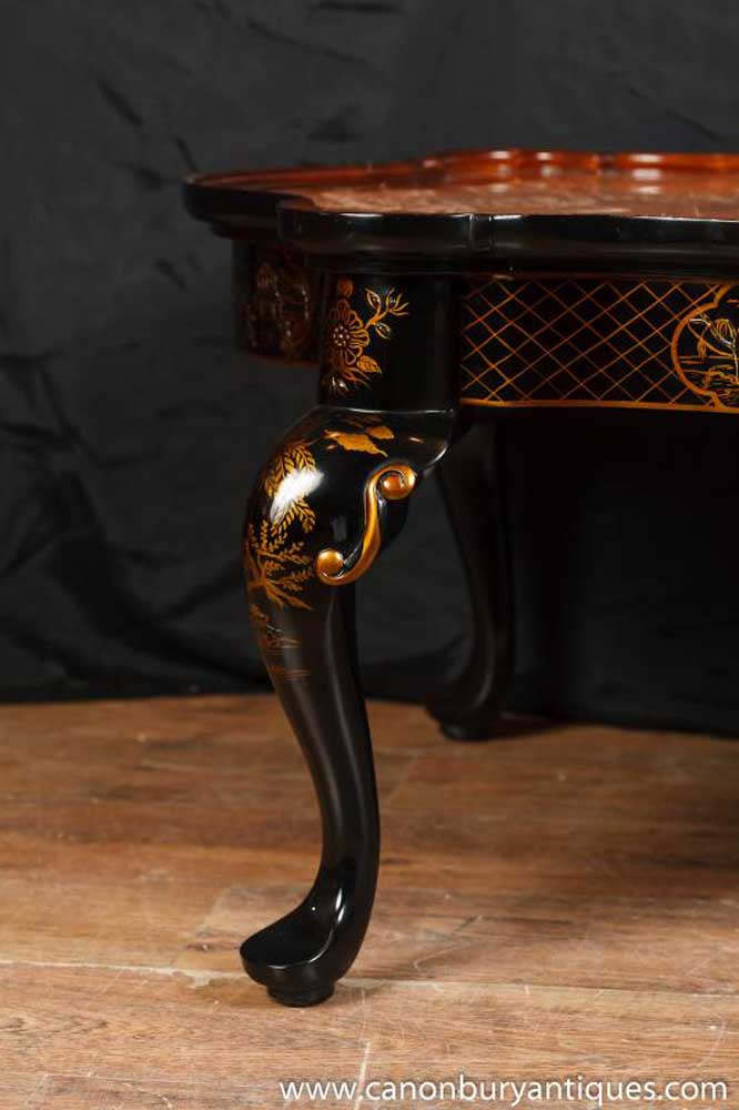 French Black Lacquer Walnut Coffee Table Chinoiserie Chinese