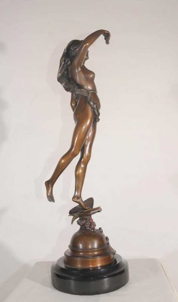 Study Room Furniture: French Bronze Statue Nymph Les Roses Signed Fromental