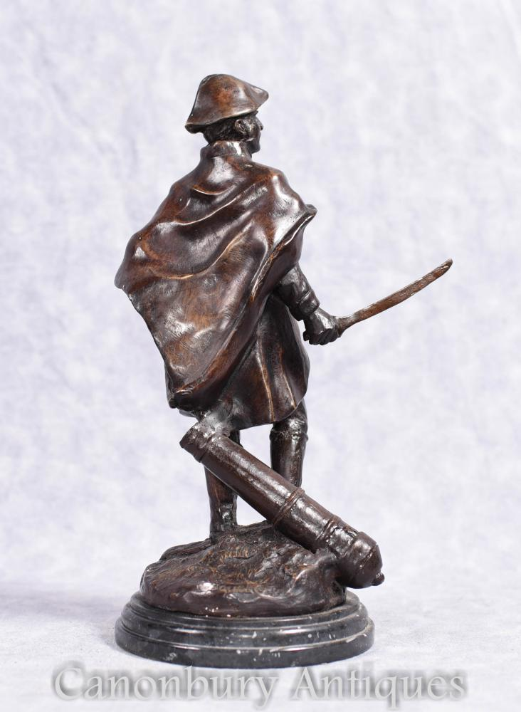 French Bronze Statue Soldier Military Casting Signed Boucher