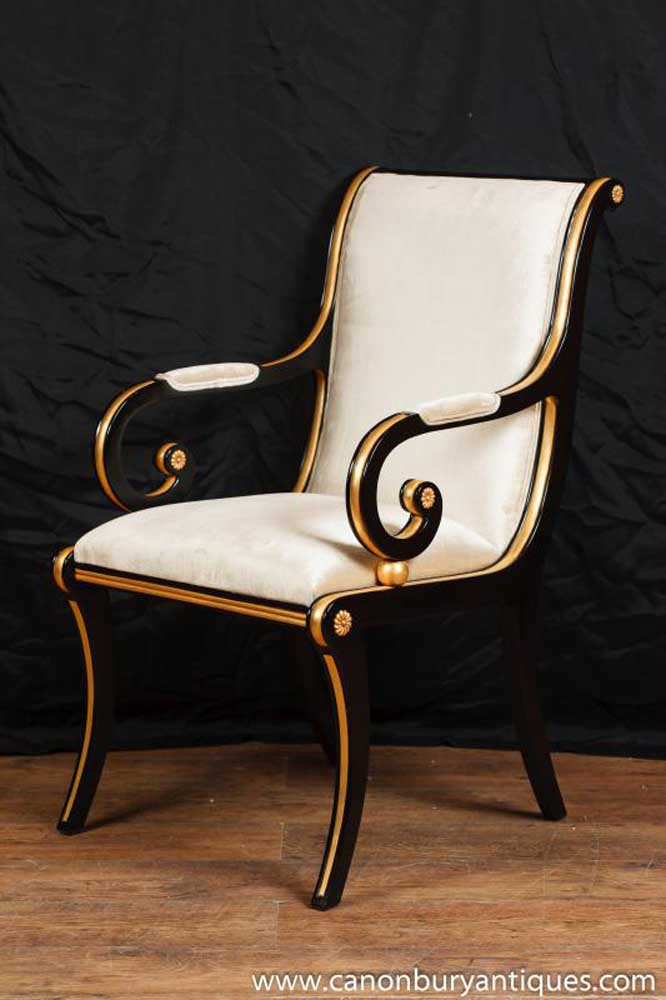 French Arm Chair Empire Black Lacquer Seat Fauteil
