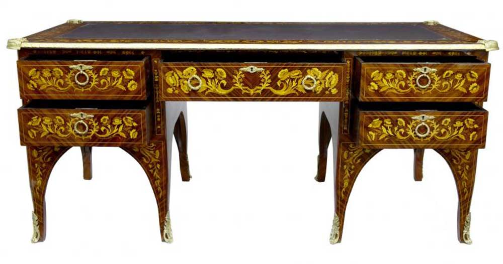 french empire desk marquetry inlay bureau plat writing table. Black Bedroom Furniture Sets. Home Design Ideas